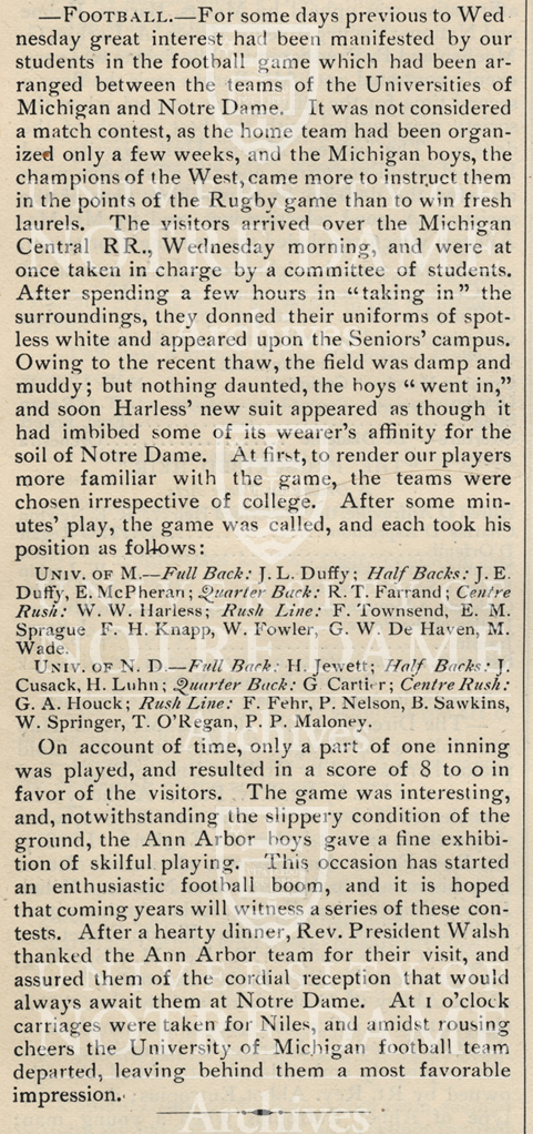 Scholastic 1887 article regarding first varsity football game