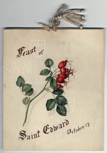 Founders day notre dame archives news notes cover of the hand drawn card the novices presented to fr edward sorin on the feast day of st edward c1880s m4hsunfo