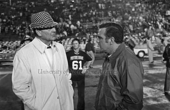 Football Game Scene - ND vs. Alabama, Sugar Bowl, 1973/1231.  Coaching legends Bear Bryant (Alabama) and Ara Parseghian (Notre Dame) talking on the sidelines.