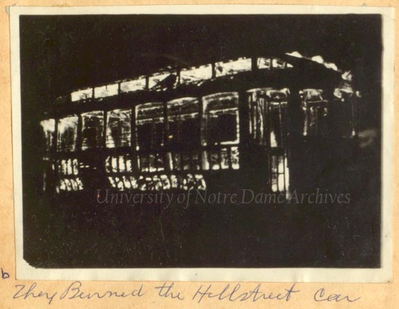 The Hill Street car on fire, 1916/0206.
