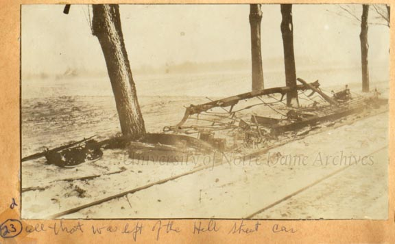 The burned out remains of the Hill Street car, February 1916