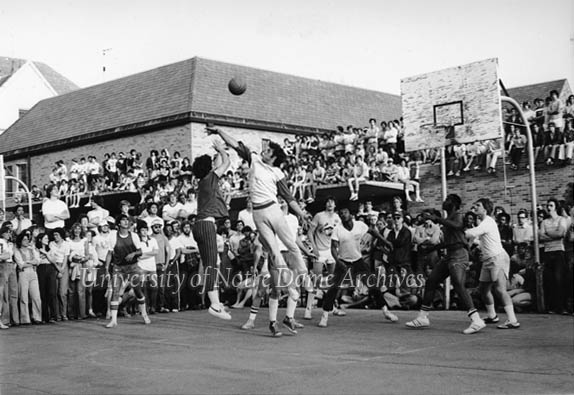 Bookstore Basketball game scenes with fans on the roof of the old South Quad bookstore, c1970s