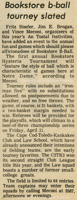 Observer article regarding registration for the first annual Bookstore Basketball Tournament, 1972