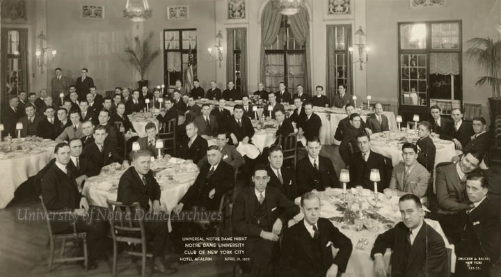 Universal Notre Dame Night Banquet held by the Alumni Club of New York City at the Hotel McAplin, 1932/0418