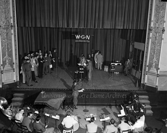 Universal Notre Dame Night event in Washington Hall, broadcast by WGN radio, 1951