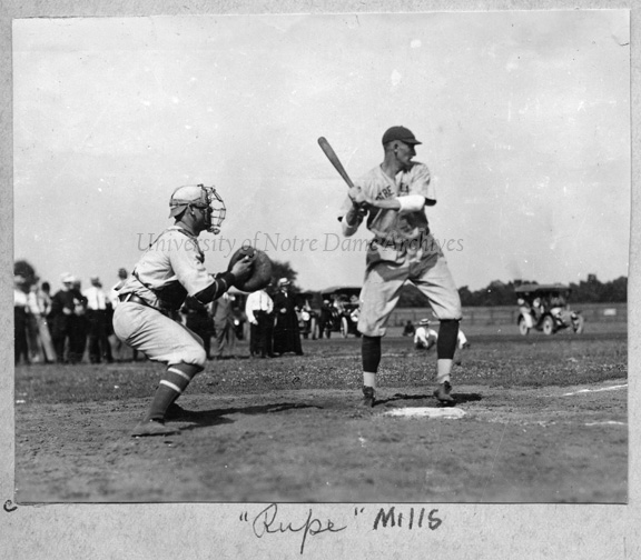 Baseball Game Scene - Player Rupert Mills at bat, c1915.