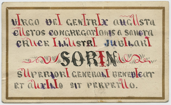 Card from Rev. Edward Sorin's Golden Jubilee, 1888/0815