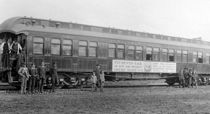 The Zahm Special, 1898.  Train car built by the Worchester Excursion Car Company for use by western students traveling to and from campus.