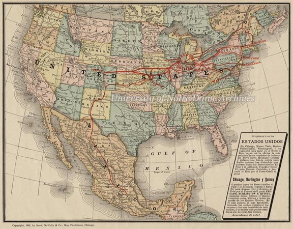 Detail of a broadside advertisement for Notre Dame in Spanish for prospective students from Mexico, featuring a map of the United States with train routes, 1883.