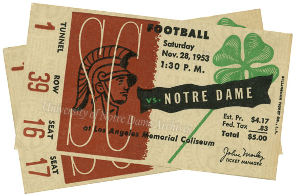 Football Tickets:  Notre Dame vs. Southern California (USC), 1953/1128
