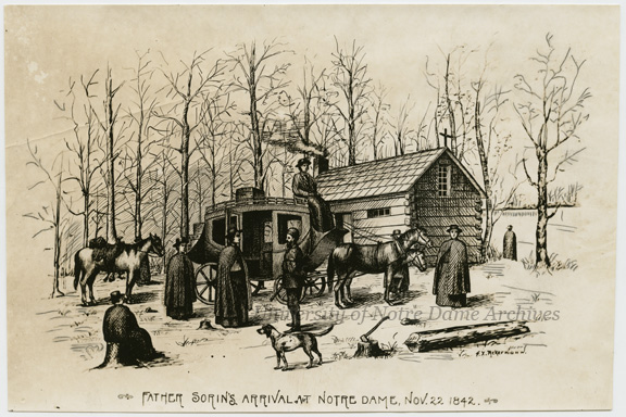 "Engraving of Rev. Edward Sorin, CSC, and the founding of Notre Dame in November 1842.  The artist is F.X. Ackermann, who was a faculty member from 1890-1937. Caption:  ""Father Sorin's Arrival, Nov. 22, 1842."""