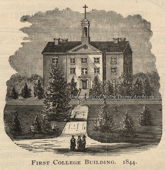 Engraving of the first Main Building in 1844