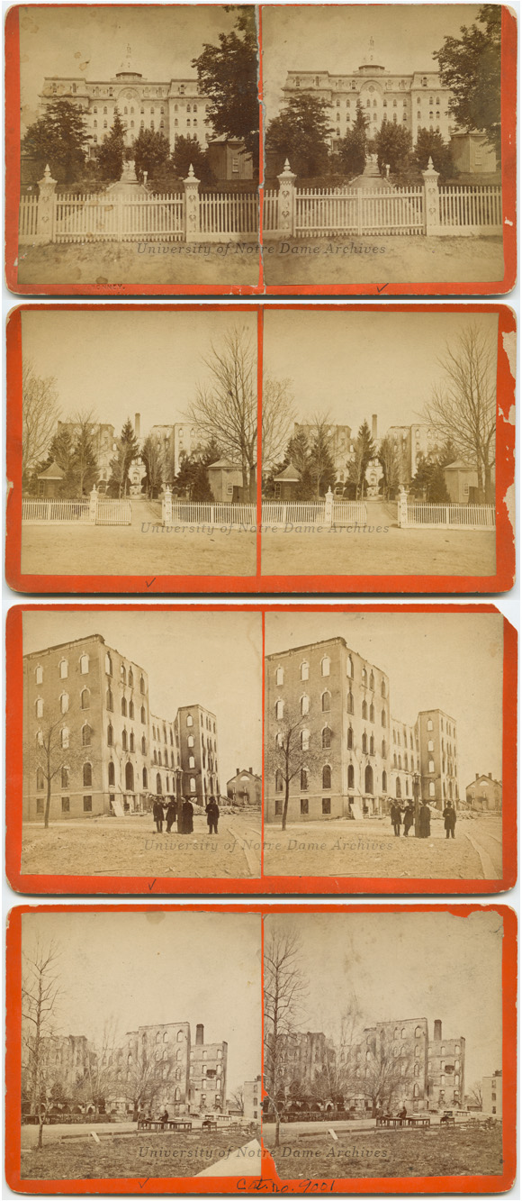 A series of stereoscope views of the Second Main Building and the April 23, 1879, fire aftermath. Photos by James Bonney.