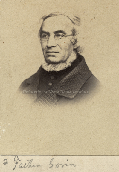 Portrait of Rev. Edward Sorin sporting a neck beard, c1860s-1870s.
