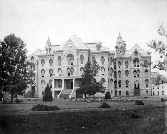 Exterior view of Main Building III under construction, without the Dome and with rolls of sod, c1879.