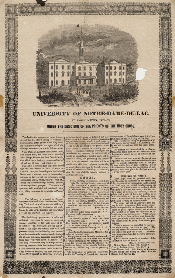 Broadside advertisement for Notre Dame featuring an engraving of the first Main Building, 1847.