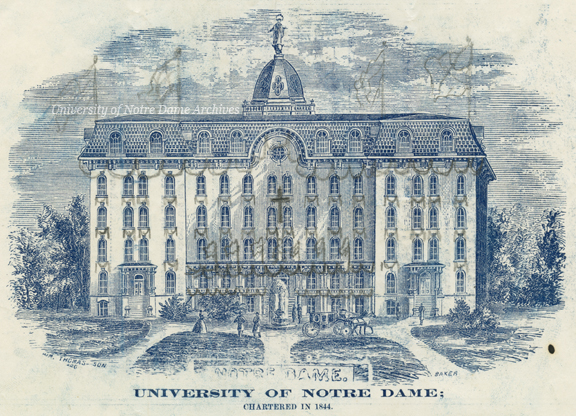 Engraving of Second Main Building from the program for the Annual Festival of St. Edward, patronal feast of Very Rev. Edward Sorin (Founder's Day), 1867/1012.  Someone later added hand-drawn festoons and flags in pencil.