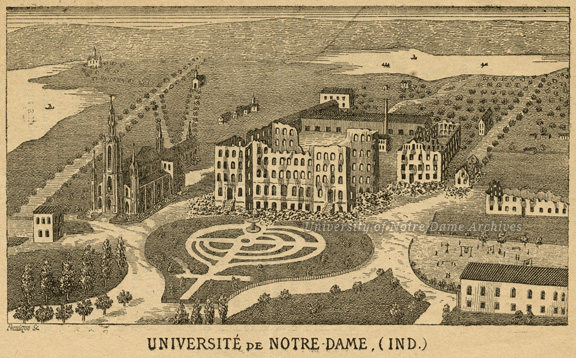 "Engraving of Notre Dame campus destroyed by fire, accompanying a letter by Rev. Edward Sorin soliciting donations in France to rebuild Notre Dame after the fire, c1879-1880. Engraving by Fernique published in ""Annales de Saint-Joseph,"" published at the College de Sainte-Croix, Neuilly, France."