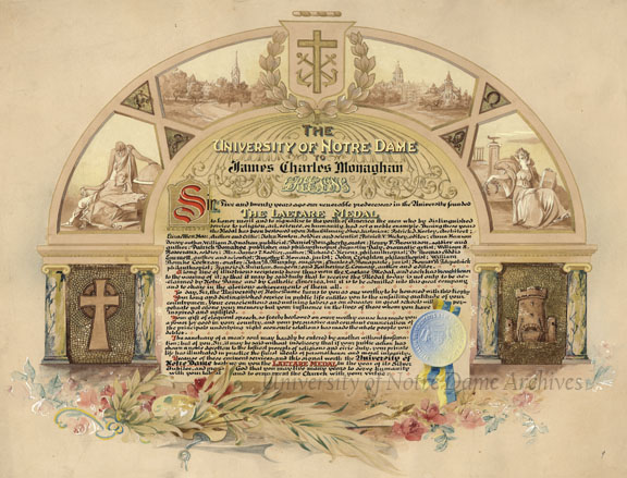 Laetare Medal certificate to James Charles Monaghan, 1908. Artwork by Howard Darnell of Philadelphia.