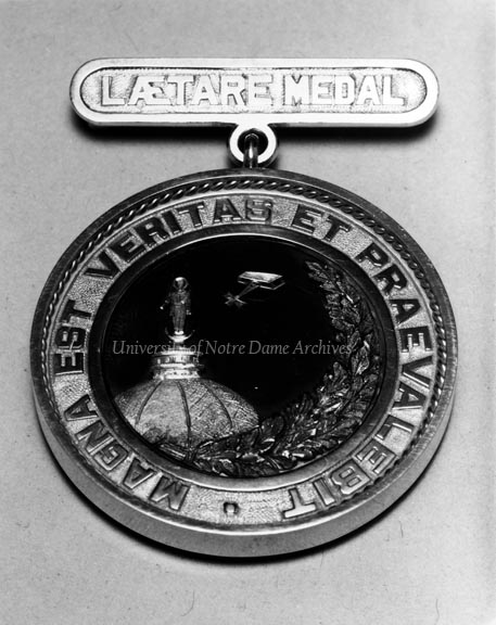 Front side of the Laetare Medal given to Albert Zahm in 1925.  Astronaut James Wetherbee (Class of 1974) carried this medal with him on his first flight into space.