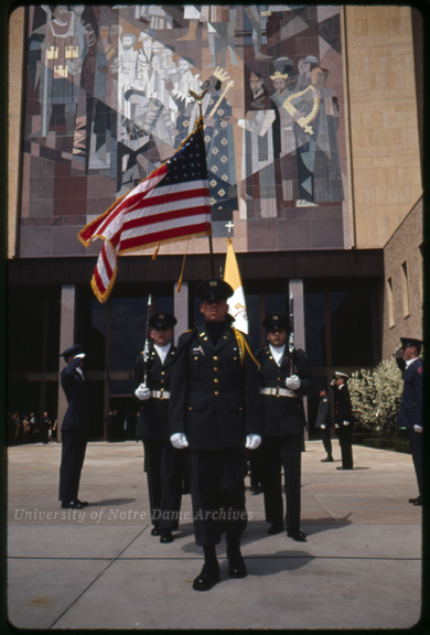 Memorial Library Dedication – An ROTC color guard in front of the Library, 1964/0507.