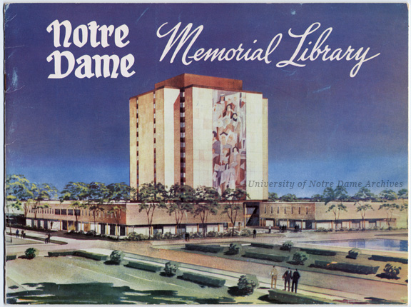 Cover of the fundraising brochure for the Memorial Library (later renamed Hesburgh Library)