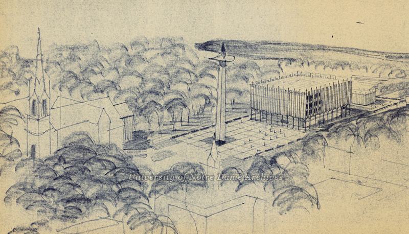 Detail of an architectural sketch of a proposed plaza and library on the site of Main Building, c1960