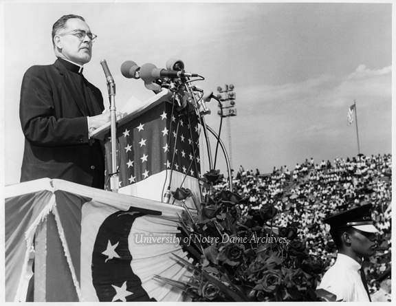 Rev. Theodore M. Hesburgh speaking at the Illinois Rally for Civil Rights in Chicago's Soldier Field, 1964/0621