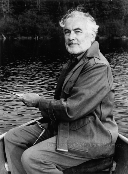 Rev. Theodore M. Hesburgh, CSC, fishing near Notre Dame's remote conference center near Land O'Lakes, Wisconsin, c1980.