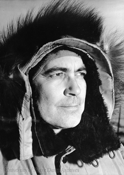 Rev. Theodore M. Hesburgh in cold-weather gear while visiting the South Pole (Antarctica) in November 1962 as Chairman of the National Science Board's International Science Activities Committee. US Navy photograph, taken by Photographer's Mate Chief (PhC) Frank Kazukaistis, USN.