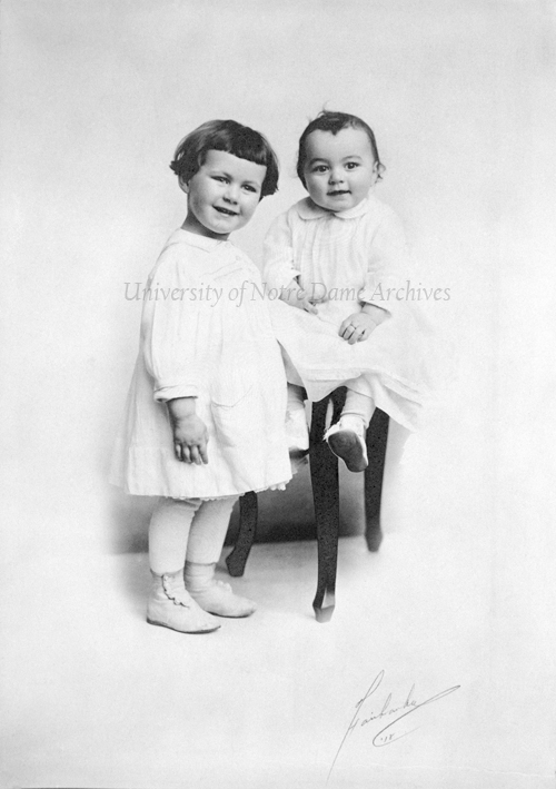 Rev. Theodore M. Hesburgh as a baby with his sister Mary, 1918.  Photo by Fairbanks.