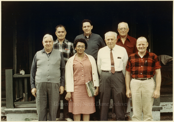 United States Civil Rights Commission members at Land O'Lakes, Wisconsin, July 1966. Back row:  Rev. Theodore M. Hesburgh, unidentified, Robert S. Rankin Front row:  Erwin Griswold, Frankie Muse Freeman, John A. Hannah, unidentified