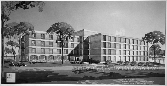 GPHR 45/4645: Architectural sketch of Lewis Hall exterior, c1962. Drawing by Ellerbe Architects. [copy negative]