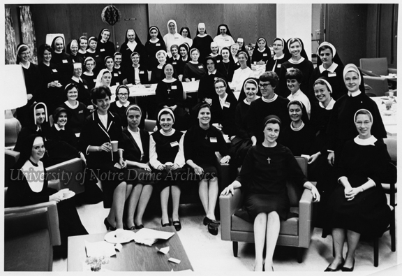 GPHS 4/43: A group of Notre Dame female students (nuns) in a lounge in Lewis Hall, Fall 1967.