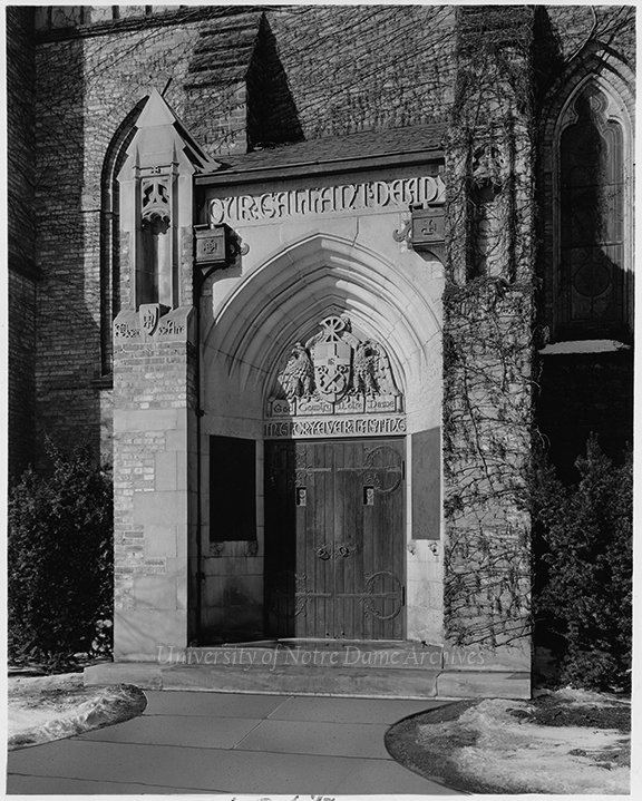 GHOP 1/08: Basilica of the Sacred Heart exterior World War I Memorial Door before the installation of the statues of St. Joan of Arc and St. Michael the Archangel, c1930s-1944. The statues were placed in 1944.