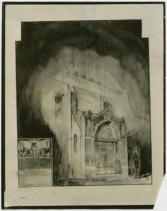 GNDL 28/29: Basilica of the Sacred Heart – Vincent Fagan artists' rendering of the World War I Memorial Door, c1923.